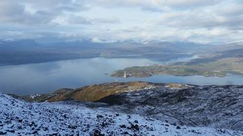 Oversiktsbilde over ny bru og Ofotenfjorden