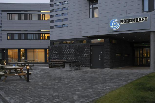 Nordkrafts bygg med lys